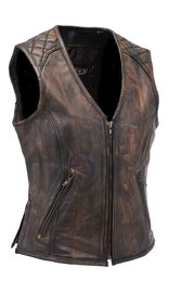 Unik Women's Vintage Brown Quilt Shoulder Leather CCW Pocket Vest #VLA6864QGN (XS-3X)