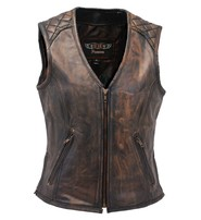 Unik Women's Vintage Brown Quilt Shoulder Leather CCW Pocket Vest #VLA6864QGN