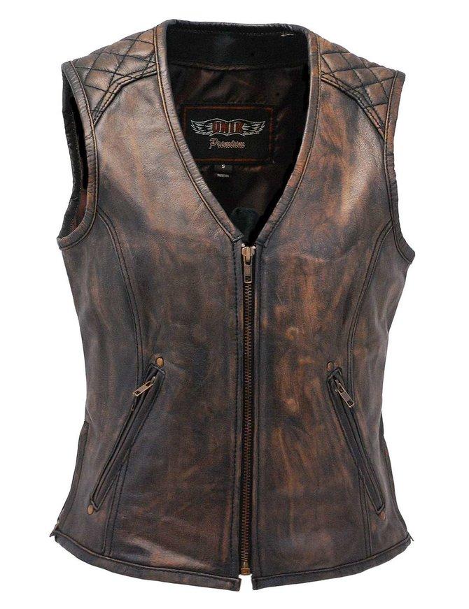 Unik Women's Vintage Brown Quilt Shoulder Leather CCW Pocket Vest #VLA6864QGN