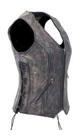Unik Women's Vintage Gray CCW Triple Zip Side Lace Leather Vest #VLA6869LGY