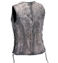 Unik Women's Vintage Gray CCW Triple Zip Side Lace Leather Vest #VLA6869LGY