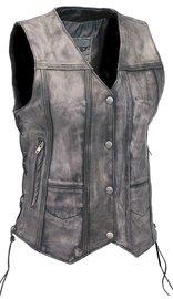 Unik Women's Vintage Gray CCW Side Lace Leather 10 Pocket Vest #VLA6872LGY