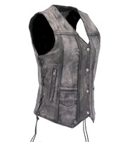 Jamin Leather Women's Vintage Gray CCW Side Lace Leather 10 Pocket Vest #VLA6872LGY