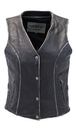 Unik Vintage Black CCW Premium Leather Vest for Women #VLA6880K