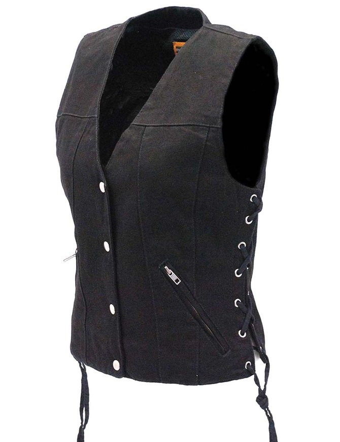 Daniel Smart Women's Dual Inside Pocket Black Denim CCW Vest #VLC906GLK