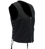 Daniel Smart Women's Side Lace Black Denim Zip Vest #VLC9420LZK