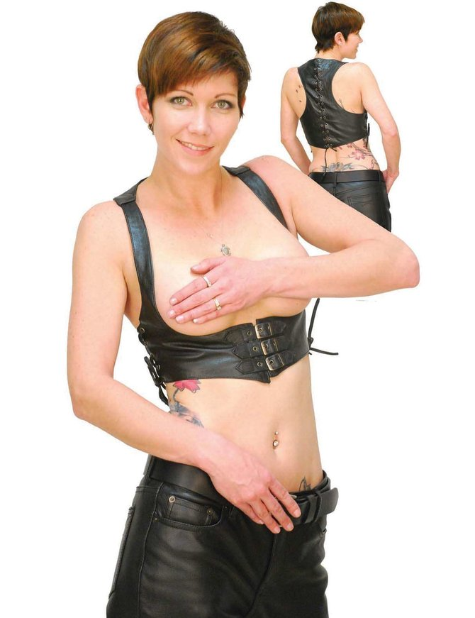 Jamin Leather Buckle Up Leather Bustier - Bust Booster #VLH9021BK