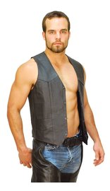 CCW Pocket Classic Leather Biker Vest - Special #VM0707GSP