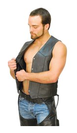 CCW Pocket Side Lace Leather Biker Vest - Special #VM0708LGSP