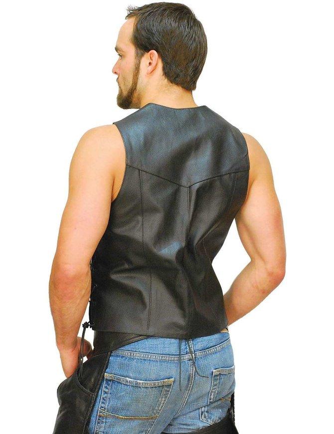 CCW Pocket Side Lace Leather Biker Vest - Special #VM0708LGSP