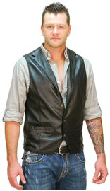 Jamin Leather Men's Black Leather Lambskin Western Vest #VM11012K (M-3X)