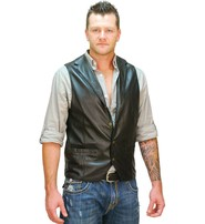 Jamin Leather Men's Black Leather Lambskin Western Vest #VM11012K