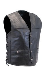CCW Patch Leather Side Lace Biker Vest #VM1283GLK