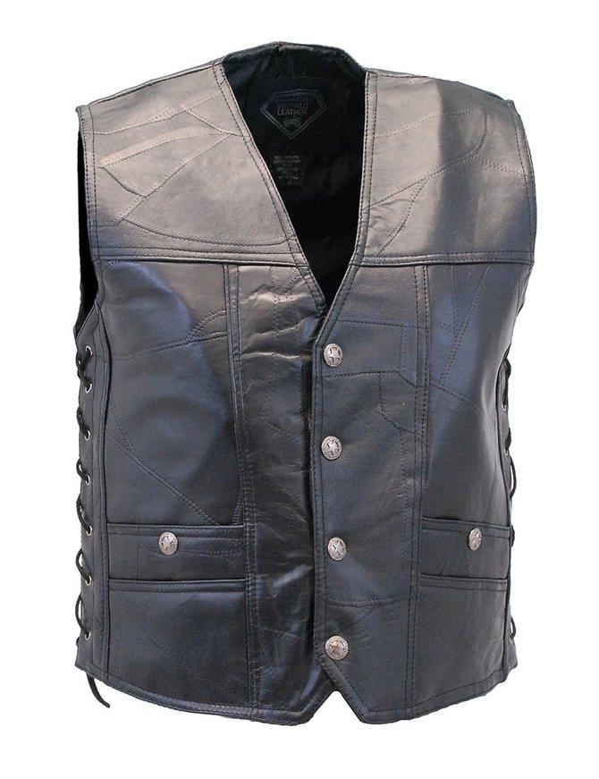 CCW Patch Leather Side Lace Biker Vest #VM1283GLK