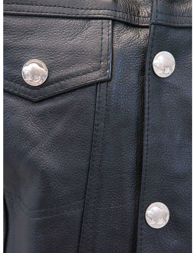 Jamin Leather Jean Style Leather Club Vest w/Collar & Buffalo Nickle Snaps #VM1331K