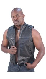 Jamin Leather Striped Zip Front Men's Leather Vest #VM1366Z