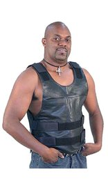 Black Leather Police Vest #VM1367 (42-56)