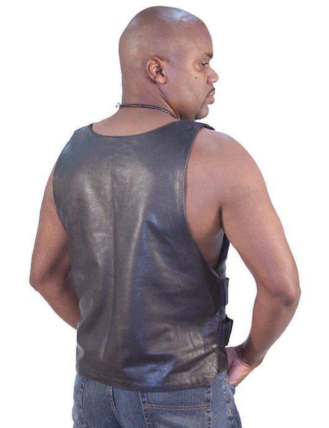 Black Leather Police Vest #VM1367