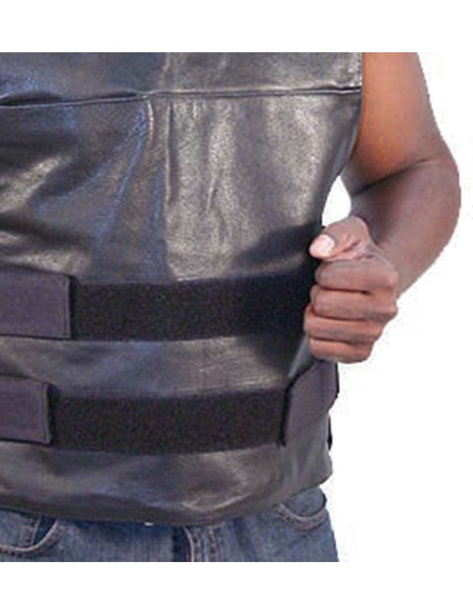 Black Leather Police Vest #VM1367
