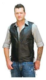 Jamin Leather Triple Zip Long Leather Vest for Men #VM1370ZL