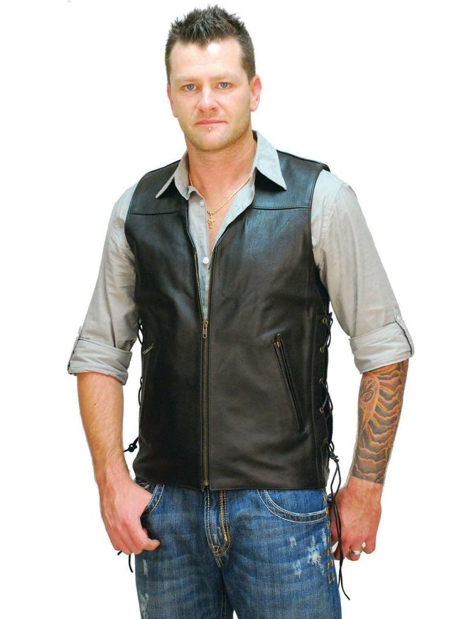 Jamin Leather Triple Zip Long Leather Vest for Men #VM1370ZL