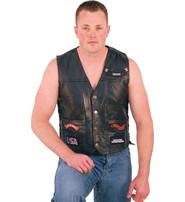 All Patched Up Leather Motorcycle Vest #VM14PP
