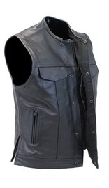 Daniel Smart Men's Collarless Black Leather Club Vest With Easy Access CCW Pocket #VM1770GK
