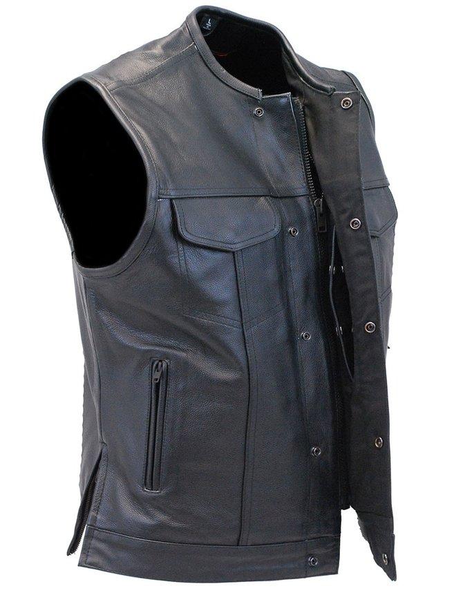 Daniel Smart Men's Collarless Black Leather Club Vest With Easy Access CCW Pocket #VM1770GK