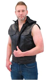 Daniel Smart Men's Hooded Black Leather Club Vest w/Dual CCW Pockets #VM1820GHK