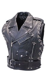 Jamin Leather Chromed Out Leather Motorcycle Vest w/Chains #VM2001MCC