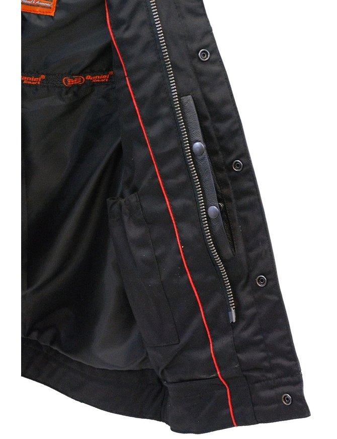 Daniel Smart Men's Hooded Black Leather Club Vest w/Dual CCW Pockets #VM1820GHK