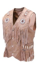 Jamin Leather Western Brown Leather Vest w/Indian Beading #VM2570BDN (M-3X)
