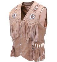 Jamin Leather Western Brown Leather Vest w/Indian Beading #VM2570BDN
