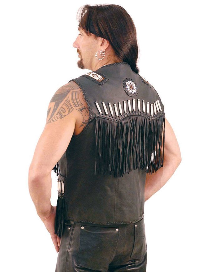 Jamin Leather Black Western Leather Vest w/Indian Beading #VM2570DBK