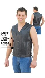 Double CCW Pocket Side Lace Leather Vest for Men #VM2611GUN
