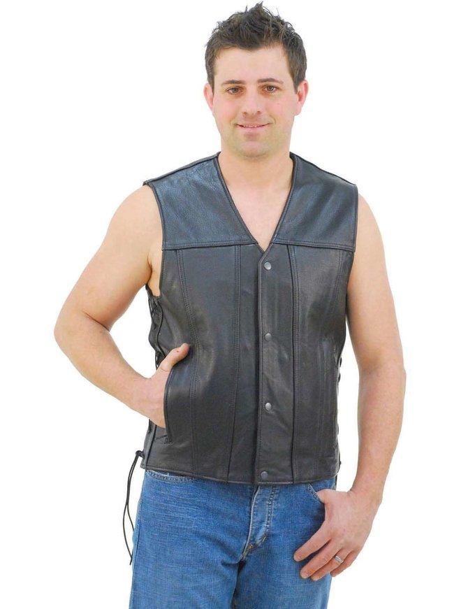 Double CCW Pocket Side Lace Leather Vest for Men #VM2611GUN