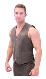 Jamin Leather Premium Rich Brown Leather Vest w/Side Lace #VM2622N (44-58)