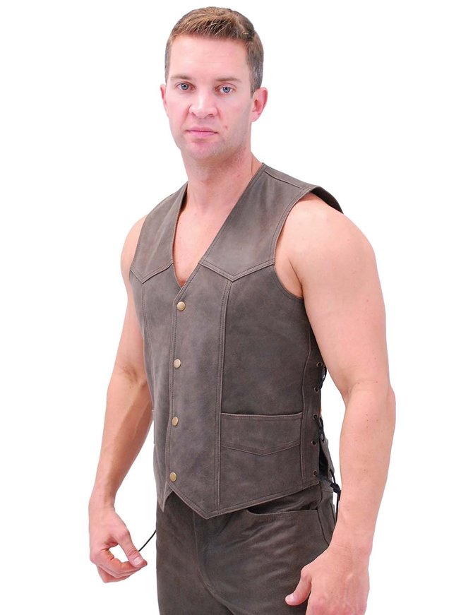 Jamin Leather Premium Rich Brown Leather Vest w/Side Lace #VM2622N