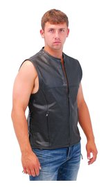 Rocket Side Lace Leather Club Vest w/1 Piece Back & No Collar #VM2648ZK (M-5X)