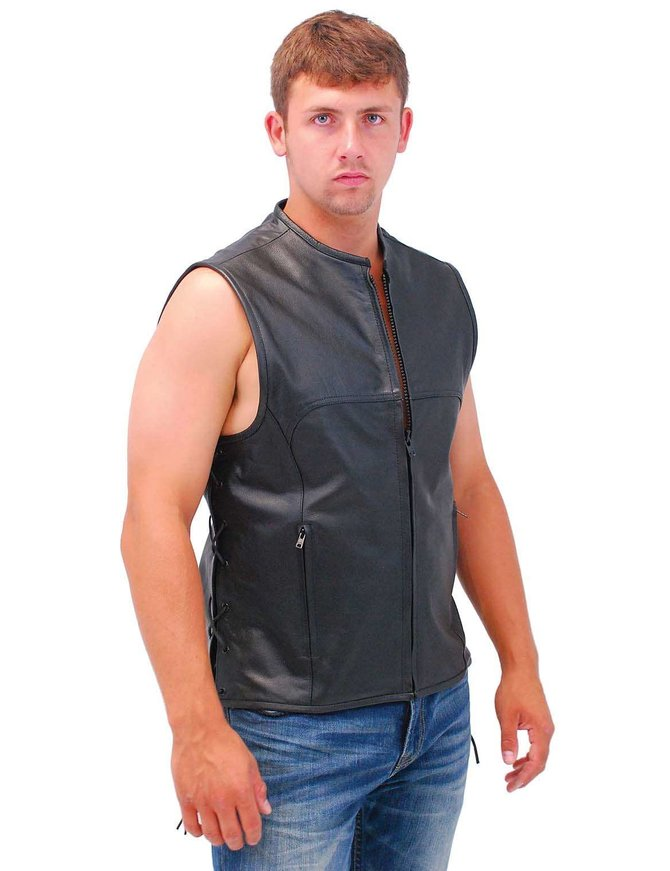 Rocket Side Lace Leather Club Vest w/1 Piece Back & No Collar #VM2648ZK