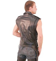 Jamin Leather Sleeveless Leather Motorcycle Jacket #VM30MCK