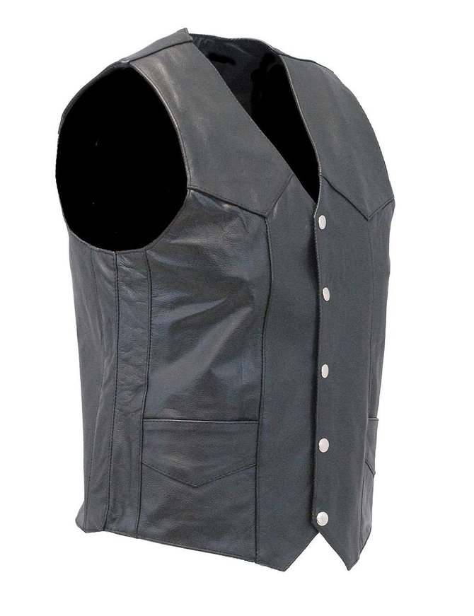 Men's Classic Black Leather Motorcycle Vest #VM400SP