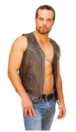 Dark Brown Leather Vest for Men #VM402RN
