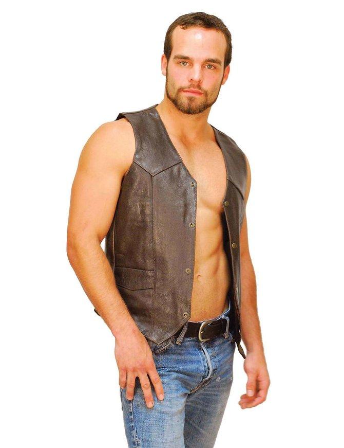 Dark Brown Leather Vest for Men #VM402RN