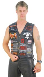 Deluxe Multi-Patch Leather Vest #VM42PP