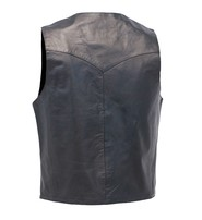 Jamin Leather Premium Black Button Down Lambskin Leather Vest for Men #VM503BTK