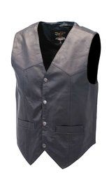 Jamin Leather Premium Black Dress Lambskin Leather Vest for Men #VM507K