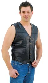 Patch Leather Vest #VM551P