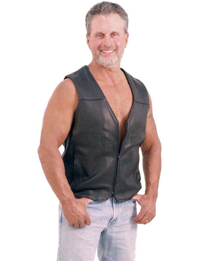Motorcycle Menace - Naked Leather Vest for Men #VM6029NZ