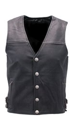 Premium Naked Leather Vest with Buffalo Nickel Snaps #VM6031NIK (S-XL)